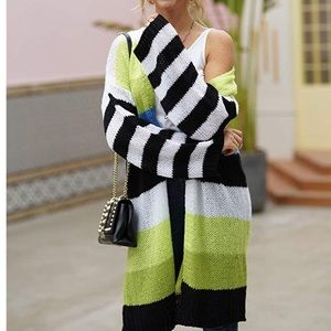 Color block lime green sweater cardigan